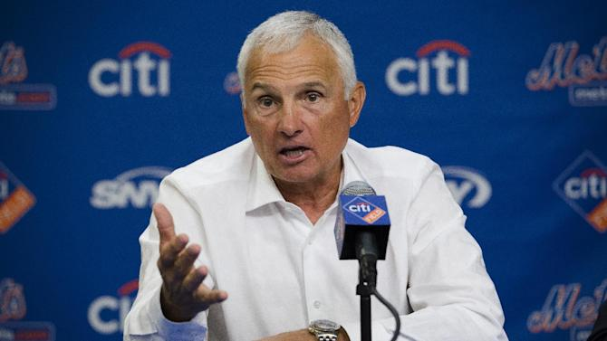 New York Mets manager Terry Collins speaks to the media during a news conference at Citi Field, Monday, Sept. 30, 2013, in New York. The Mets announced a two-year extension for Collins with a club option in 2016. (AP Photo/John Minchillo)