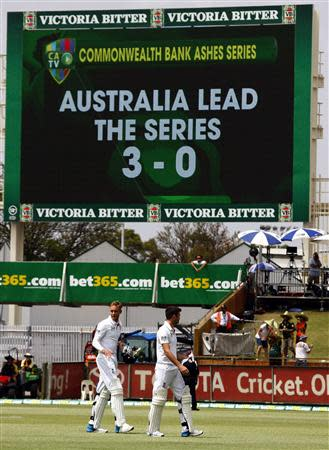 England's Anderson and Broad walk off the field after losing the Ashes test cricket series to Australia at the WACA ground in Perth