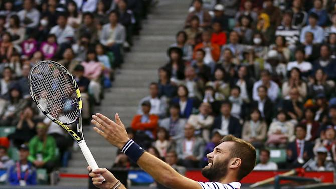 Benoit Paire of France gestures as he plays Japan's Kei Nishikori during their men's singles semifinal match at the Japan Open tennis championships in Tokyo