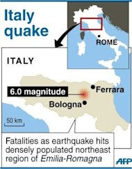 Map locating northeast region of Emilia-Romagna in Italy which was rocked by a powerful quake Sunday