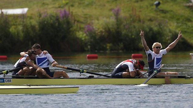 Britain's Alex Gregory, Tom James, Pete Reed and Andrew Triggs Hodge celebrate after winning the men's four final during the London 2012 Olympic Games at Eton Dorney