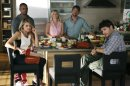 """This image released by ABC shows cast members, clockwise from foreground left, Eliza Coupe, Damon Wayans Jr., Elisha Cuthbert, Zachary Knighton and Adam Pally in a scene from the comedy series """"Happy Endings."""" The new season of the comedy premieres on Oct. 23 at 9:00p.m. EST on ABC. (AP Photo/ABC, Adam Taylor)"""