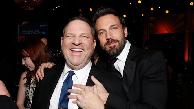 Producers Harvey Weinstein, left, and Ben Affleck attend the 24th Annual Producers Guild (PGA) Awards at the Beverly Hilton Hotel on Saturday Jan. 26, 2013, in Beverly Hills, Calif. (Photo by Todd Williamson/Invision for Producers Guild/AP Images)