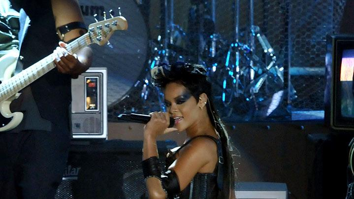 Singer Rihanna on stage at the 2008 MTV Video Music Awards.