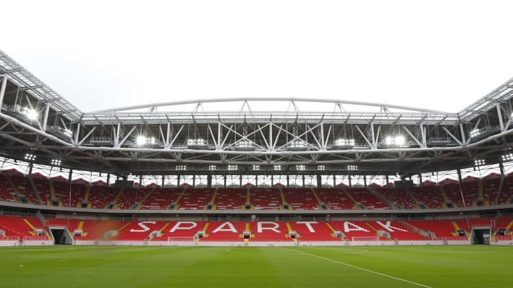 An interior view shows the Otkrytie Arena, the home stadium of Spartak Moscow football club, in Moscow