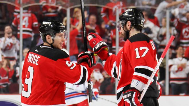 Zach Parise #9 And Ilya Kovalchuk #17 Of The New Jersey Devils Celebrate Their 4 To 1 Win Over The New York Rangers Getty Images