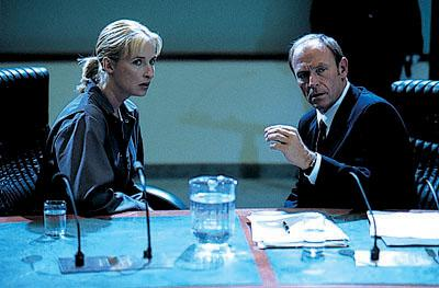 Leigh Lewis is Helen Hannah and Corbin Bernsen is Mitch Kendrick in Cloud Ten's Judgment