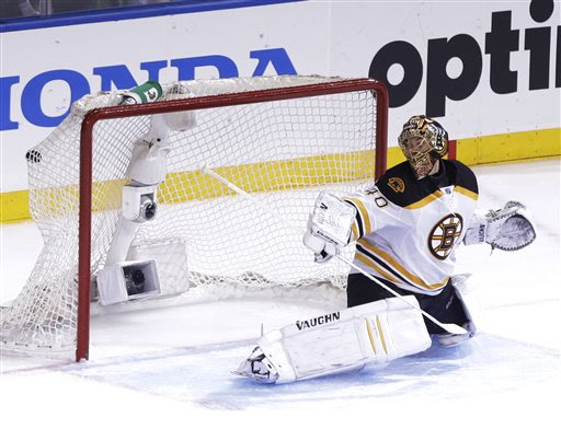 Boston Bruins goalie Tuukka Rask (40), of Finland, watches a puck shot by New York Rangers' Chris Kreider (20) get past him for the game-winning goal during the overtime period in Game 4 of the Easter