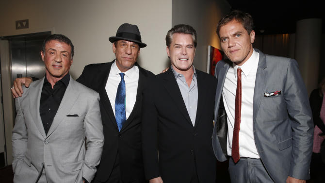 Sylvester Stallone, Robert Davi, Ray Liotta and Michael Shannon attend the DeLeon Tequila Premiere of The Iceman at the Arclight on Monday, April 22, 2013 in Los Angeles. (Photo by Todd Williamson/Invision for Millennium/AP)