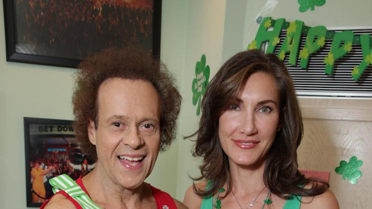 Richard Simmons and Lollipop Theater's Evelyn Iocolano at St. Patty's Day Slimdown benefiting the Lollipop Theatre Network held at Slimmons on Sunday, Mar., 17, 2013 in Beverly Hills, CA. (Photo by Eric Charbonneau/Invision for Lollipop Theatre Network/AP Images)