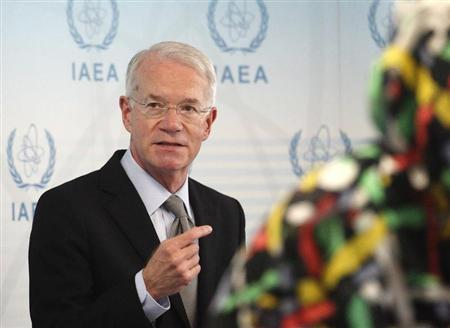 U.S. International Atomic Energy Agency IAEA ambassador Macmanus talks to the media during an IAEA meeting in Vienna