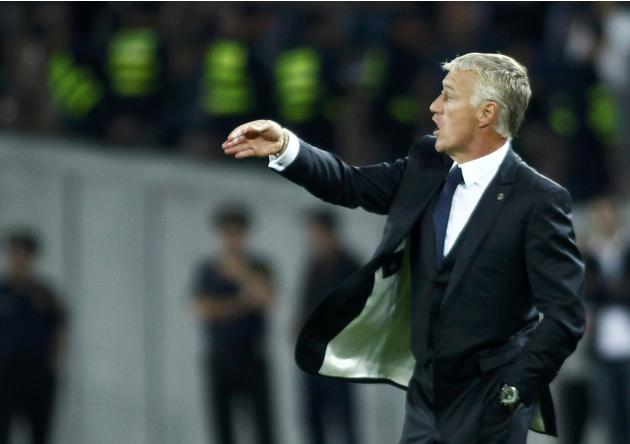 France's coach Didier Deschamps reacts during the 2014 World Cup qualifying soccer match against Georgia at the Boris Paichadze National Stadium in Tbilisi