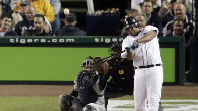 Detroit Tigers' Delmon Young hits a home run in the fourth inning during Game 3 of the American League championship series against the New York Yankees Tuesday, Oct. 16, 2012, in Detroit. (AP Photo/Charlie Riedel)