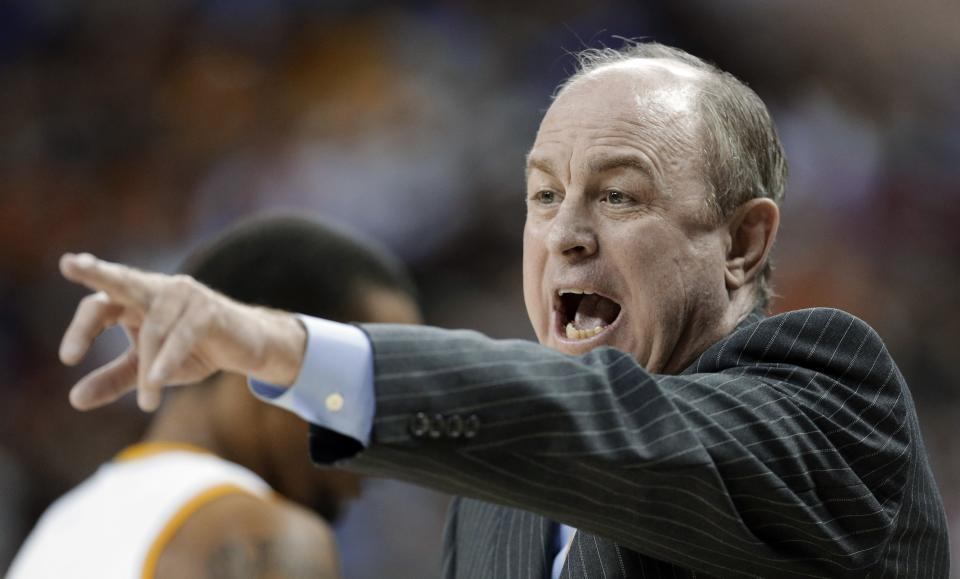 UCLA coach Ben Howland talks to his players during the first half against Minnesota in a second-round game of the NCAA men's college basketball tournament Friday, March 22, 2013, in Austin, Texas. (AP Photo/David J. Phillip)