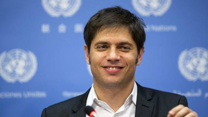 Minister of Economy of Argentina, Axel Kicillof speaks to members of the media at United Nations headquarters in New York