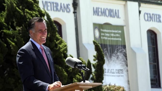Republican presidential candidate, former Massachusetts Gov. Mitt Romney, speaks during a campaign event at the Veterans Museum & Memorial Center, Monday, May 28, 2012 in San Diego.  (AP Photo/Mary Altaffer)