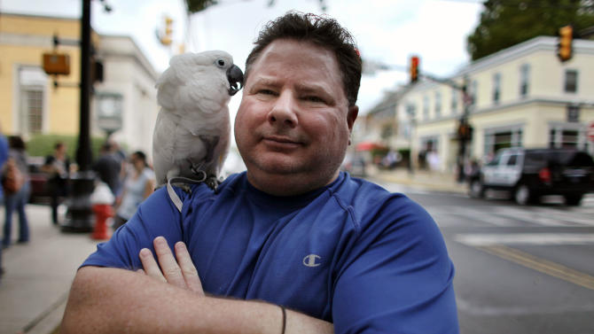 Ed Valenti and his parrot 'Puffy' pose for a photo, Saturday Oct. 6, 2012, in Newtown Pa. A former Republican, Valenti, 53, a social worker, said he has been disillusioned by how far to the right the party has moved. And he is afraid of more cuts to social programs for the poor if Romney is elected. (AP Photo/ Joseph Kaczmarek)