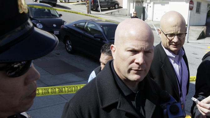 San Francisco Police Chief Greg Suhr speaks to reporters outside of a home on Howth Street in San Francisco, Friday, March 23, 2012. Five members of a family were found dead inside a home near San Francisco's City College in an apparent murder-suicide, police said Friday. (AP Photo/Jeff Chiu)