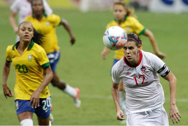 Canada's Brittany Baxter, right, controls the ball during a match against Brazil, at the International Women's Football Tournament in Brasilia, Brazil, Wednesday, Dec. 18, 2013