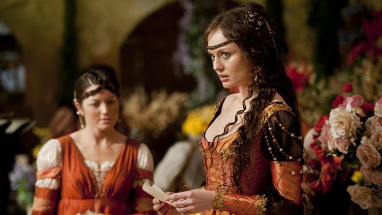 "This publicity image released by Starz shows Laura Haddock as Lucrezia Donati in a scene from ""Da Vinci's Demons,"" premiering Friday, April 12 at 10 p.m. EST on Starz. (AP Photo/Starz Entertainment, LLC, Ollie Upton)"