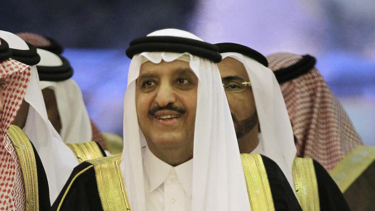 "In this Wednesday, May 2, 2012 photo, Prince Ahmed bin Abdul-Aziz arrives before the Interior ministers of the Gulf Cooperation Council ""GCC"" meeting in Riyadh, Saudi Arabia. Prince Ahmed was promoted from deputy interior minister to take Nayef's place leading the ministry, which has played the front-line role in crackdowns on Islamic militants following the Sept. 11 attacks. The move appears to put Ahmed, believed to be in his early 70s, in a position to be in line for the throne. (AP Photo/Hassan Ammar)"