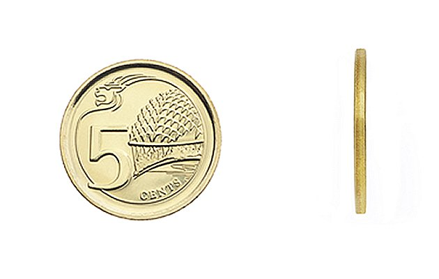 The 5-cent coin is made of multi-ply brass plated steel, has a plain edge pattern, and has a diameter of 16.75mm and a thickness of 1.22mm. The back design features the Esplanade, Singapores iconic c