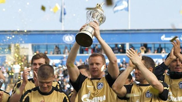 Players from Russian Premier League champions Zenit St.Petersburg hold the trophy