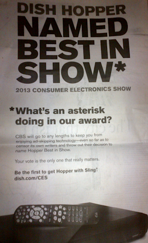Dish Touts CES Would-Be Award, Slams CBS In Ad For Commercial-Zapping Hopper