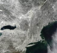 NASA&#39;s Terra satellite snapped this image of snow blanketing the Northeast on Feb. 10, 2013.