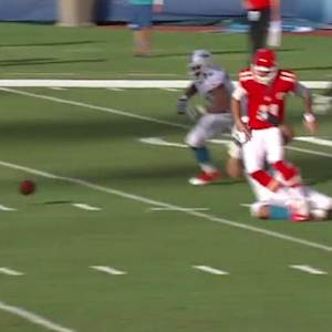 Kansas City Chiefs quarterback Alex Smith sacked and fumbles