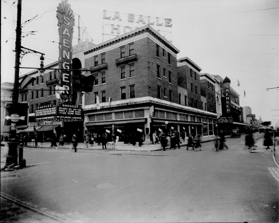 This circa 1930 photo provided by ACE Theatrical Group LLC shows the exterior of the Saenger Theater in New Orleans. (AP Photo/ACE Theatrical Group LLC)