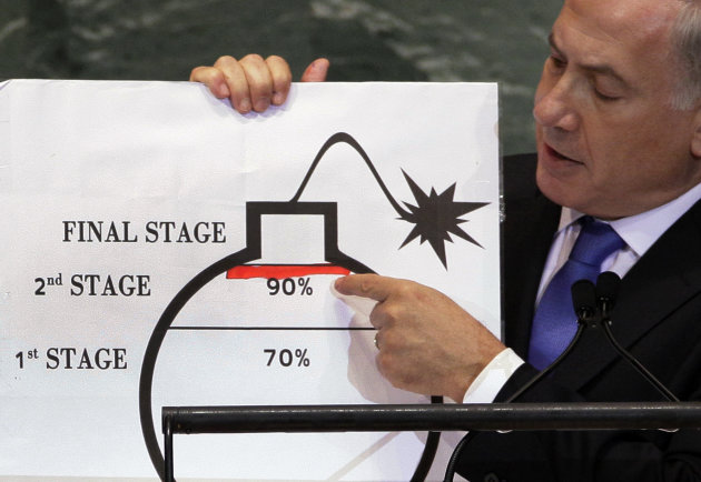 Prime Minister Benjamin Netanyahu of Israel shows an illustration as he describes his concerns over Iran&#39;s nuclear ambitions during his address to the 67th session of the United Nations General Assembly at U.N. headquarters Thursday, Sept. 27, 2012. (AP Photo/Richard Drew)