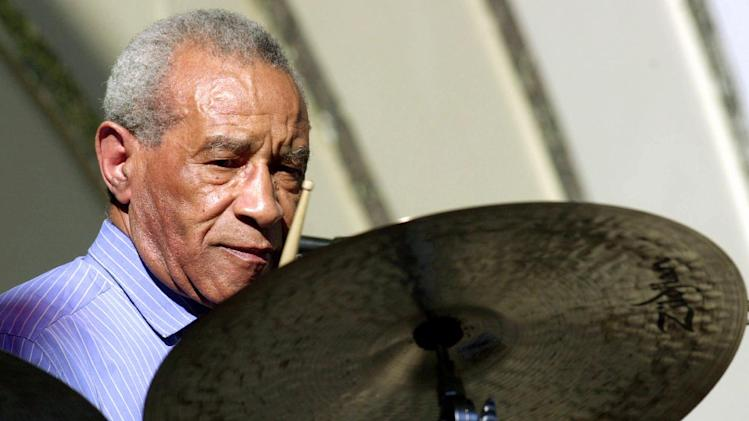 FILE - This June 16, 2001 file photo, shows Max Roach performing at the Playboy Jazz Festival at the Hollywood Bowl in Los Angeles. Music and records from one of the creators of modern jazz drumming, Max Roach, will be preserved at the Library of Congress. On Monday, the library announced the acquisition of Roach's collection from his body of work over several decades. It includes more than 100,000 items, including 80,000 manuscripts and papers, as well as photographs, music manuscripts and hundreds of sound and video recordings. (AP Photo/Kevork Djansezian, File)