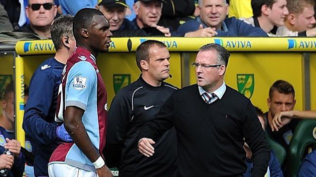 Paul Lambert, right, expects Christian Benteke, left, to return sooner than he initially expected