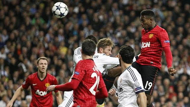 Manchester United&#39;s Danny Welbeck (R) scores the opening goal against Real Madrid (Reuters)
