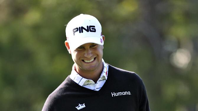 Harris English reacts after missing a putt on the 15th hole during the first round of the Tampa Bay Championship golf tournament, Thursday, March 14, 2013, in Palm Harbor, Fla. (AP Photo/Chris O'Meara)