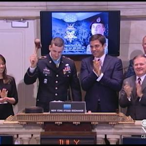 Medal of Honor recipient rings the closing bell, breaks gavel