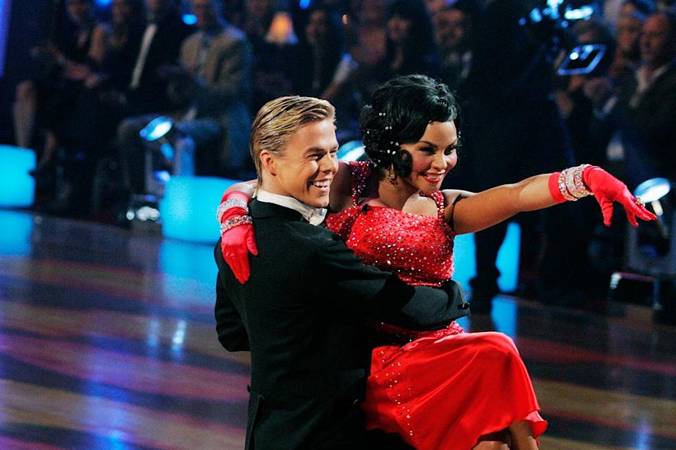 "Lil' Kim and Derek Hough perform the Quickstep to ""Diamonds Are a Girl's Best Friend"" by Marilyn Monroe on ""Dancing with the Stars."""