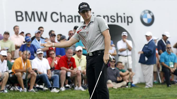 Rory McIlroy, of Northern Ireland, gestures on the 15th hole during the BMW Championship PGA golf tournament at Crooked Stick Golf Club in Carmel, Ind., Sunday, Sept. 9, 2012. McIlroy won the event. (AP Photo/Charles Rex Arbogast)