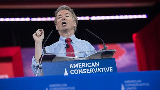 US Republican Senator Rand Paul from Kentucky speaks at the annual Conservative Political Action Conference at National Harbor, Maryland, outside Washington, on February 27, 2015