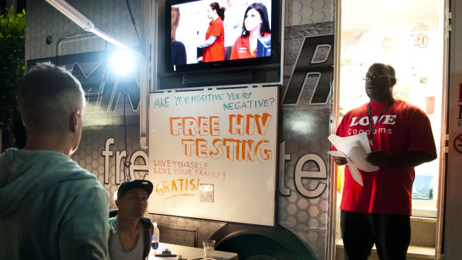 IMAGE DISTRIBUTED FOR AIDS HEALTHCARE FOUNDATION - Free HIV Testing at the Wilton Manors Out of the Closet (OTC) Block Party & Insti-Test Launch Marking the 5th anniversary of Wilton Manors OTC in Wilton Manors, Fla. on Saturday, Feb. 2, 2013 at the Hagan Park/City Hall parking lot in Wilton Manors, Fla. (Mitchell Zachs /AP Images for AIDS Healthcare Foundation)