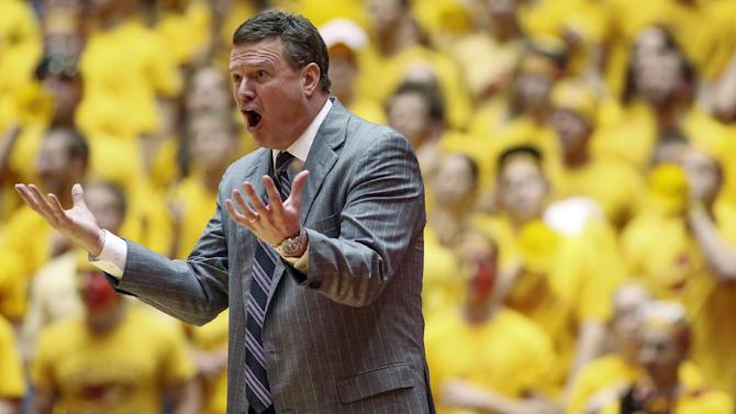 Kansas head coach Bill Self reacts after what he thought was a missed call by an official during the second half of their NCAA college basketball game against Iowa State, Monday, Feb. 25, 2013, in Ames, Iowa. Self reached his 500th career victory as Kansas won 108-96 in overtime. (AP Photo/Justin Hayworth)