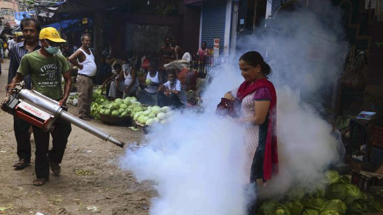 A municipal worker fumigates a vegetable market in Siliguri