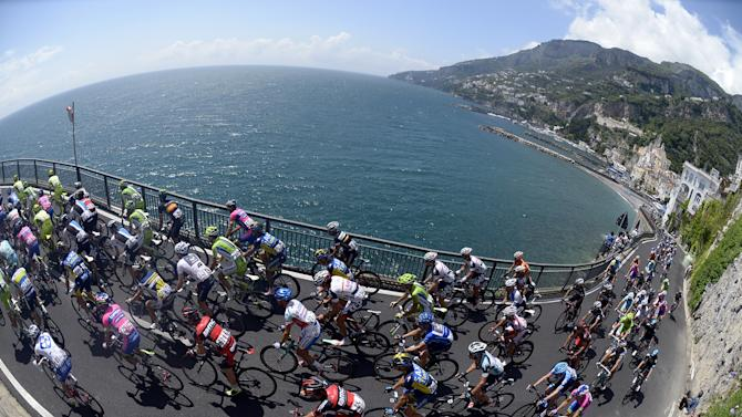 The pack pedals during the third stage of the Giro d'Italia from Sorrento to Marina di Ascea, Italy, Monday, May 6, 2013. (AP Photo/Fabio Ferrari)