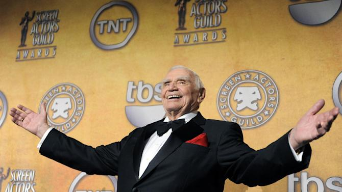 FILE - In this Jan. 30, 2011, file photo, Ernest Borgnine poses backstage after receiving the life achievement award at the 17th Annual Screen Actors Guild Awards in Los Angeles. A spokesman said Sunday, July 8, 2012, that Borgnine has died at the age of 95. (AP Photo/Chris Pizzello, File)