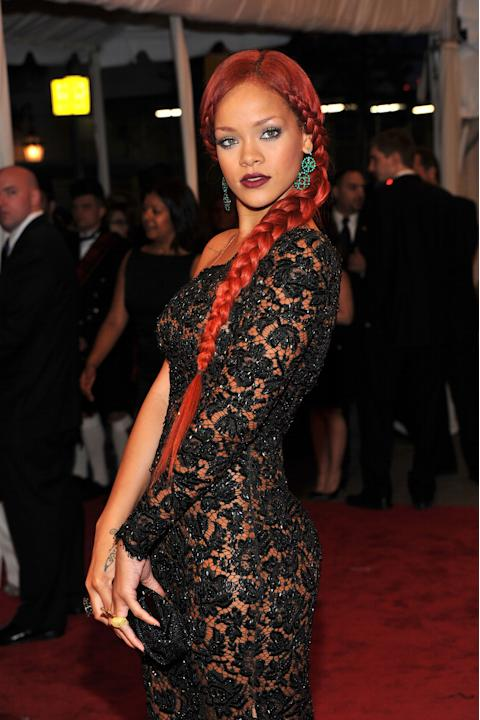 Rihanna and a bright red braid