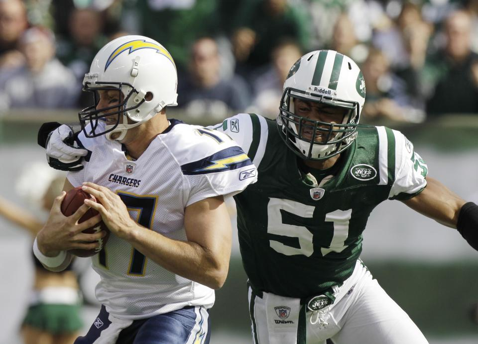 New York Jets' Aaron Maybin (51) sacks San Diego Chargers' Philip Rivers during the first quarter of an NFL football game, Sunday, Oct. 23, 2011, in East Rutherford, N.J. (AP Photo/Kathy Willens)