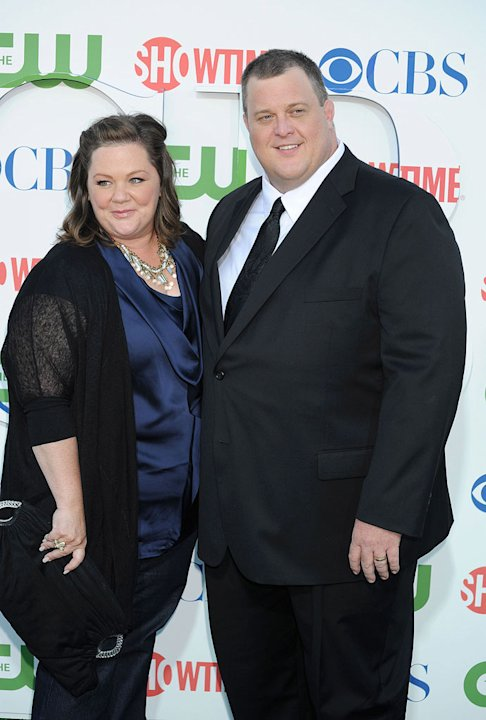 """Mike and Molly's"" Melissa McCarthy and Billy Gardell arrive at the TCA Summer 2010 CBS/The CW/Showtime ""Star Party in the Tent"" on July 28, 2010 in Beverly Hills, California."