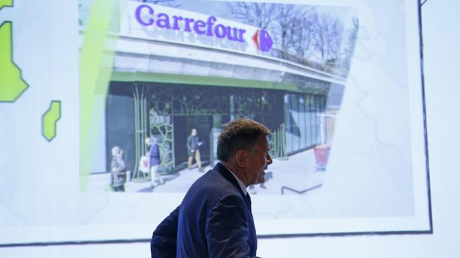 Carrefour Chief Executive Plassat attends the company's First-Half 2015 results presentation in Paris, France
