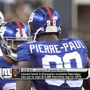New York Giants defensive end Jason Pierre-Paul injures hand in fireworks accident